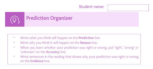 prediction graphic organizer, how to make predictions in readings, graphic organizers